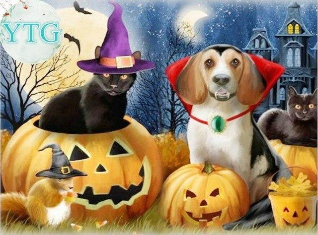 5D Diamonds Painting Halloween Pets Kit