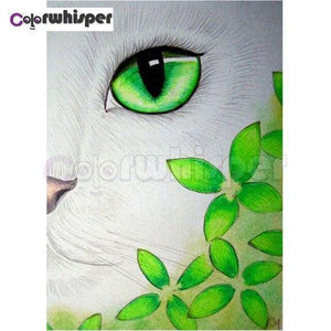 5D Dianond Painting Green Eye Cat & Leaves Kit