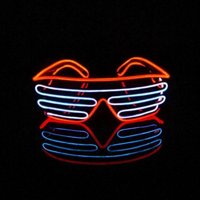 EL Wire Shutter Glasses - White/Orange