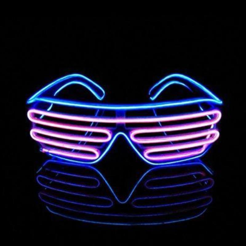 EL Wire Shutter Glasses - Purple/Turquoise