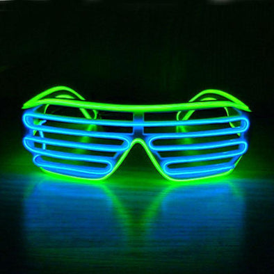 Light up EL Wire Shutter Glasses - Blue/Lime
