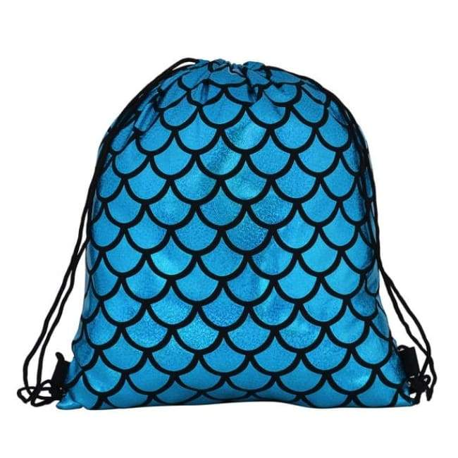 Bags - Blue Scale Drawstring Bag