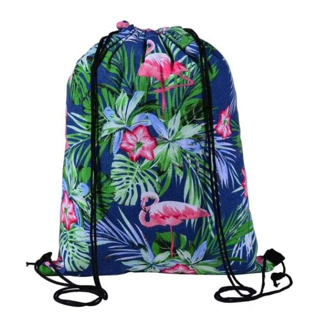Bags - Floral Blue Drawstring Bag