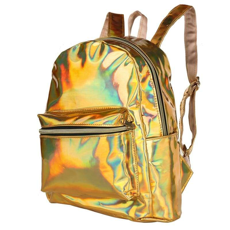 Bags - Gold Shiny Backpack