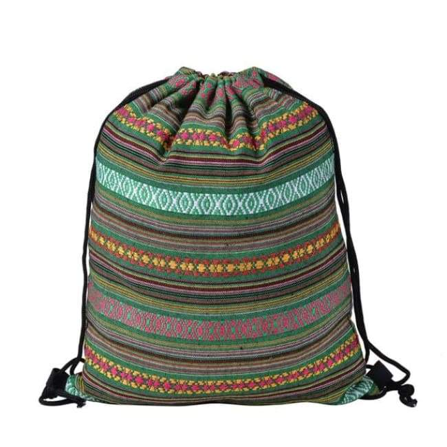 Bags - Khaki Patterned Drawstring Bag