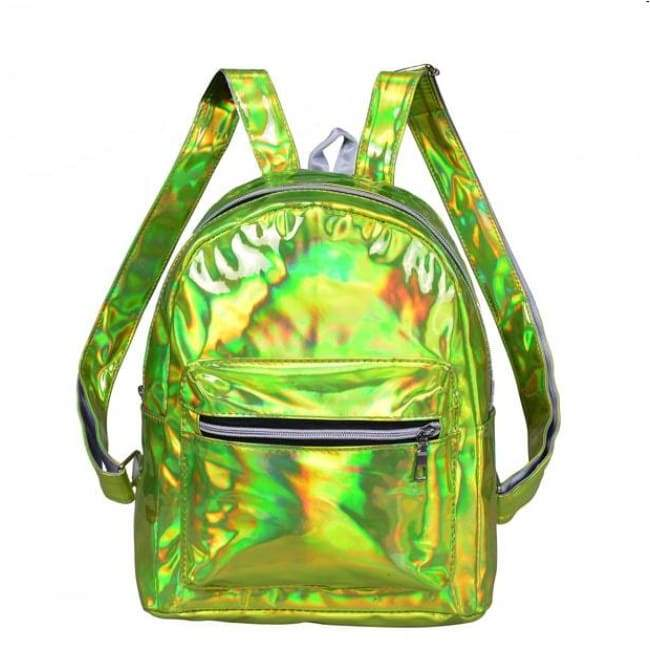 Bags - Lime Green Shiny Backpack