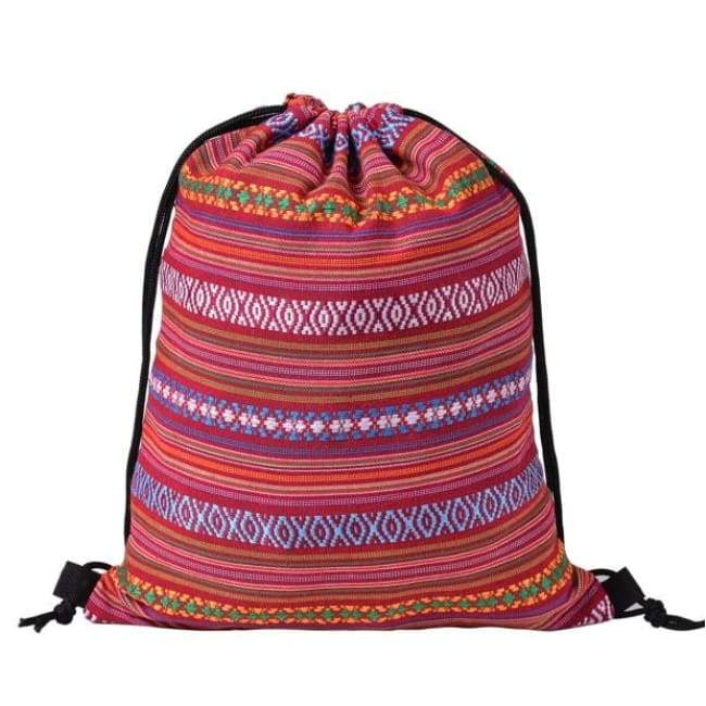 Bags - Red Patterned Drawstring Bag