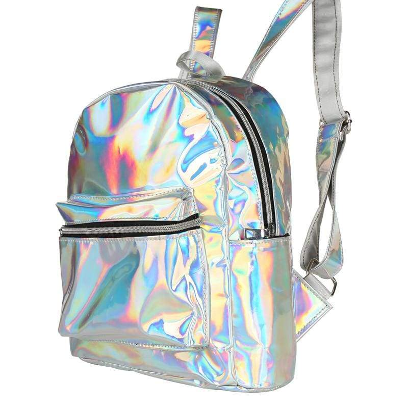 Bags - Silver Shiny Backpack