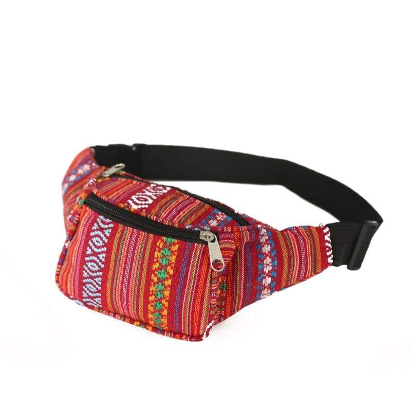 BUMBAG - Red Mix Canvas Bumbag