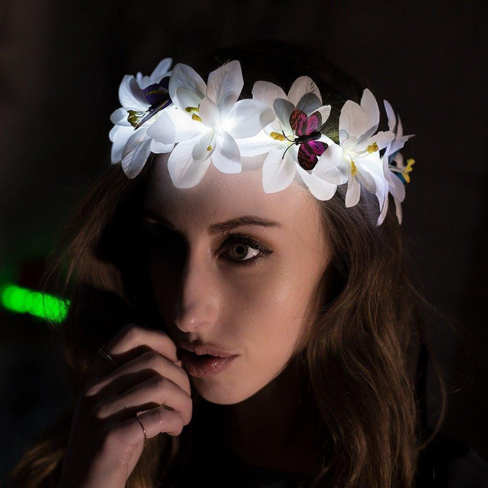 Light up Tiaras Headband - White Butterfly