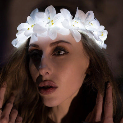 Flower Light up Headbands | UK Brand | Flash Wear white