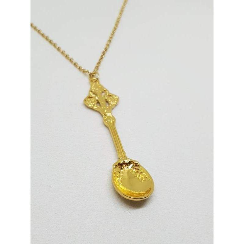 Gold Scoop Spoon Necklace