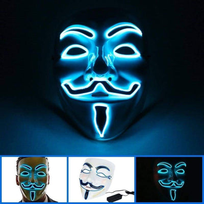 Masks - Light Up Anonymous Mask - Blue