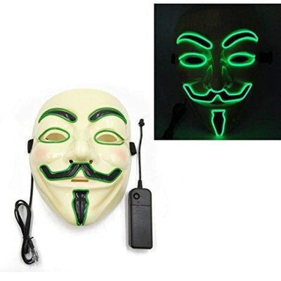 Masks - Light Up Anonymous Mask - Green