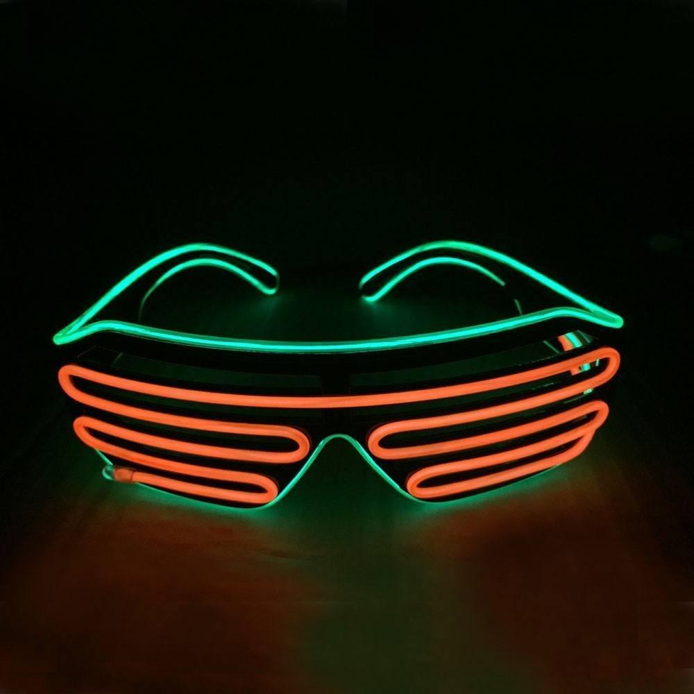 Light up EL Wire Shutter Glasses - Orange/Green