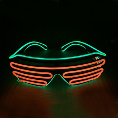 Light up EL Wire Shutter Glasses - Orange/Lime