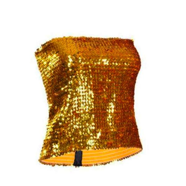 Sequin - Gold Sequin Strapless Top