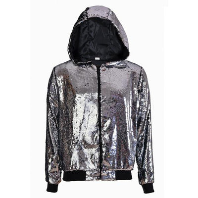 Sequin Jacket - Silver Sequin Hooded Jacket