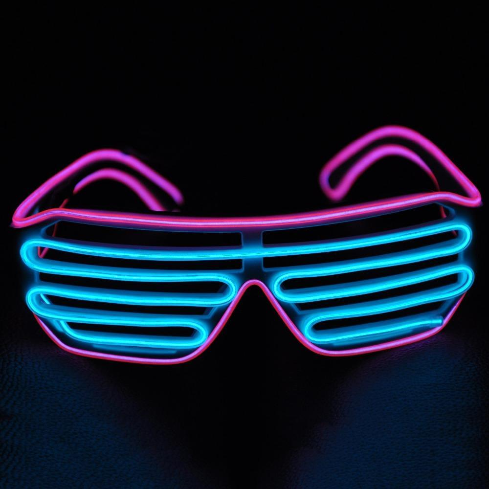 Light up EL Wire Shutter Glasses - Blue/Purple