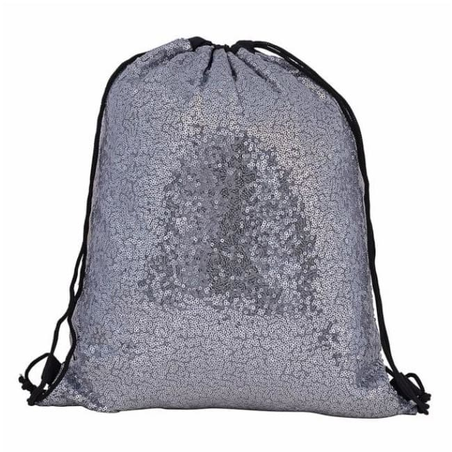 Silver Sequin Drawstring Bag - Bags