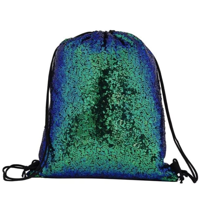 Turquoise Sequin Drawstring Bag - Bags