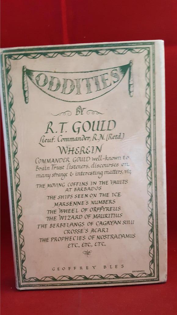 R T Gould - Oddities, Geoffrey Bles, 1944, Signed, Inscribed
