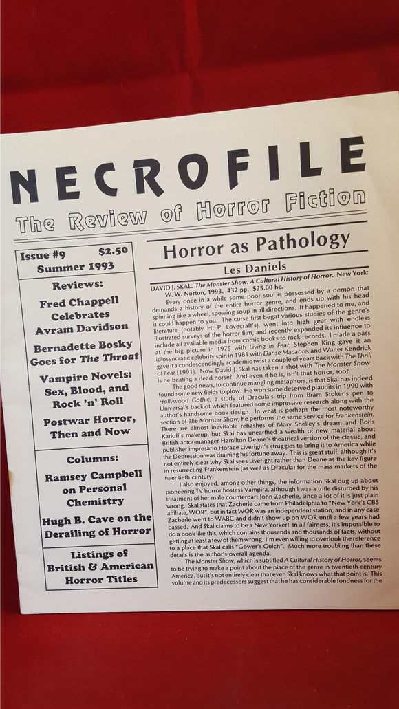 Necrofile - The Review of Horror Fiction, Issue 9, Summer 1993