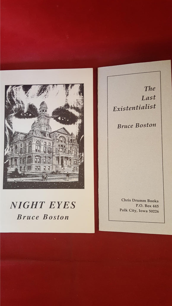 Bruce Boston - Night Eyes, Drumm, 1993, Signed Booklet  plus printed cardstock (a poem)