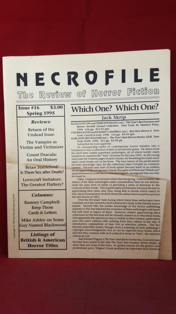 Necrofile - The Review of Horror Fiction, Issue 16 Spring 1995, Necronomicon Press