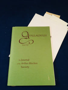 Arthur Machen - Avallaunius, The Journal of the Arthur Machen Society, Spring 1990, Number 5, The Arthur Machen Society 1990, Number 83 of 250 Copies + Letters