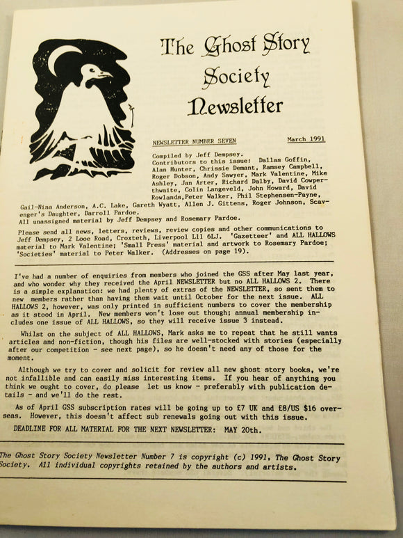 The Ghost Story Society Newsletter - Number 7, March 1991, Jeff Dempsey