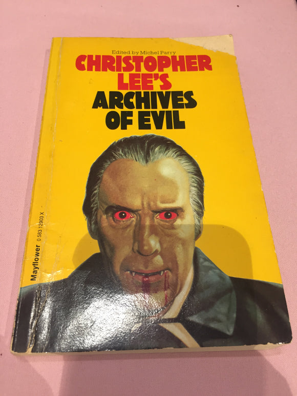Christopher Lee - Christopher Lee's Archives of Evil, Granada 1979 Reprint, Inscribed to Richard Dalby by Christopher Lee