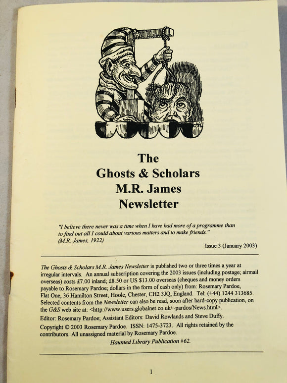 The Ghosts & Scholars - M. R. James Newsletter, Haunted Library Publications, Issue 3 (January 2003)