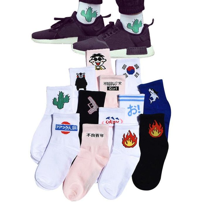 Aesthetic-Harajuku Cotton Students Socks
