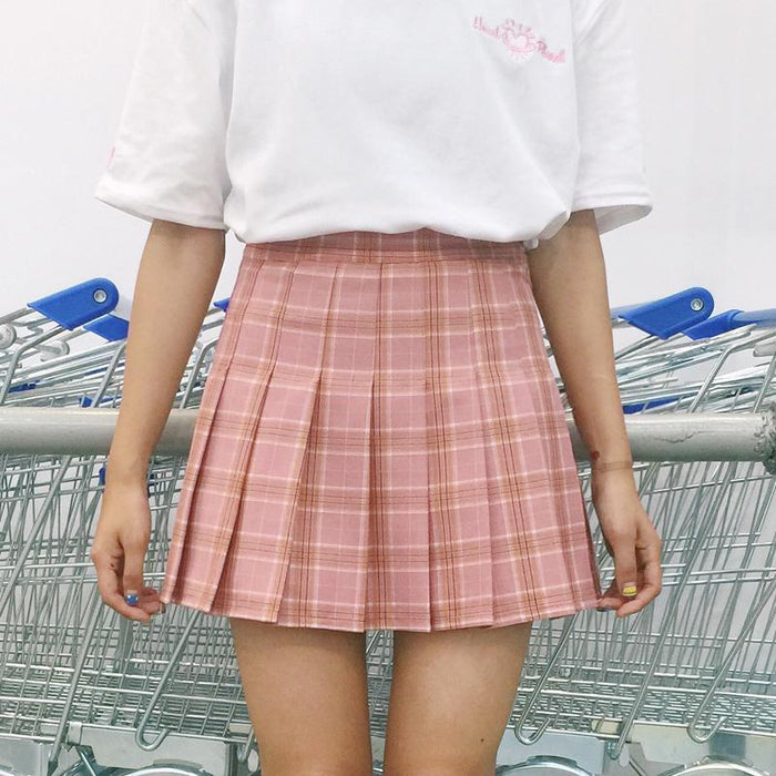 Aesthetic-HIGH WAIST PLAID PLEATED SKIRTS