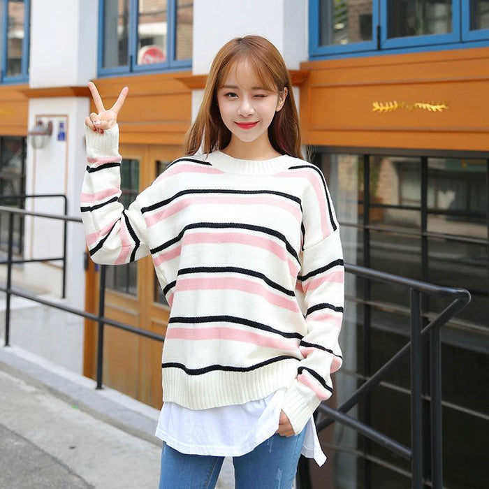 Aesthetic-MULTI COLORED STRIPED PULLOVER