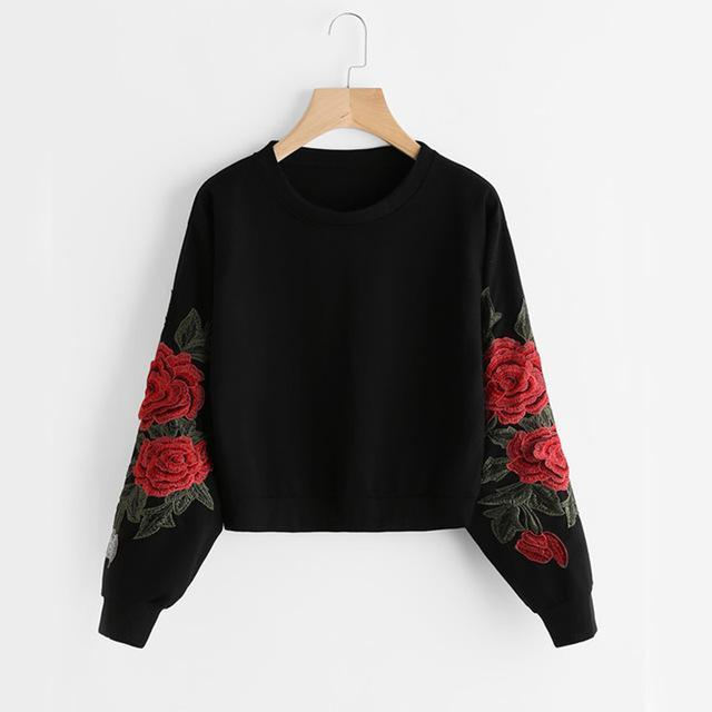 Aesthetic-ROSE EMBROIDERY PULLOVER