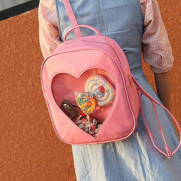 Aesthetic-Transparent Love Heart Shape Backpacks