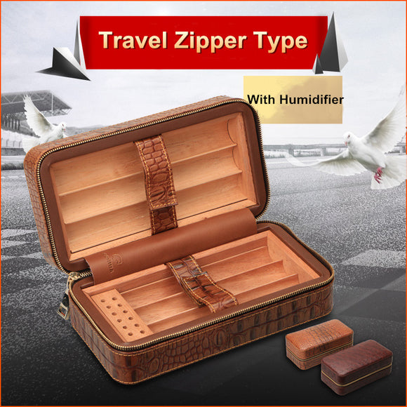 COHIBA High Quality Brrown CROCO Pattern Leather Exterior Travel Case Cedar Wood Lined Cigar Humidor Case Mini Box W/ Zipper