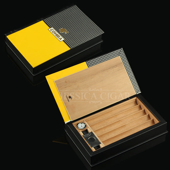 COHIBA High-end Travel  Cigar Humidor leather Case 5 Cigars  Cigar Box Storage Box
