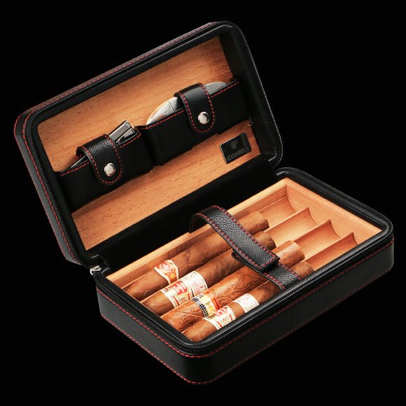Luxury COHIBA portable genuine leather cigar bag(hold 4pcs)W/ Cigar Cutter Humidor Storage Box cigar(not include lighter)
