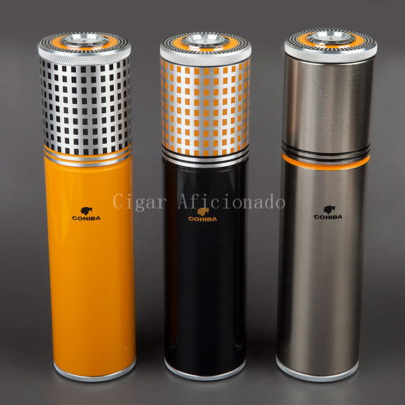 COHIBA Gadgets Yellow&Black&Silver Aluminium Alloy Travel  Cigar Tube Portable Jar MINI Humidor W/ Humidifier Hygrometer
