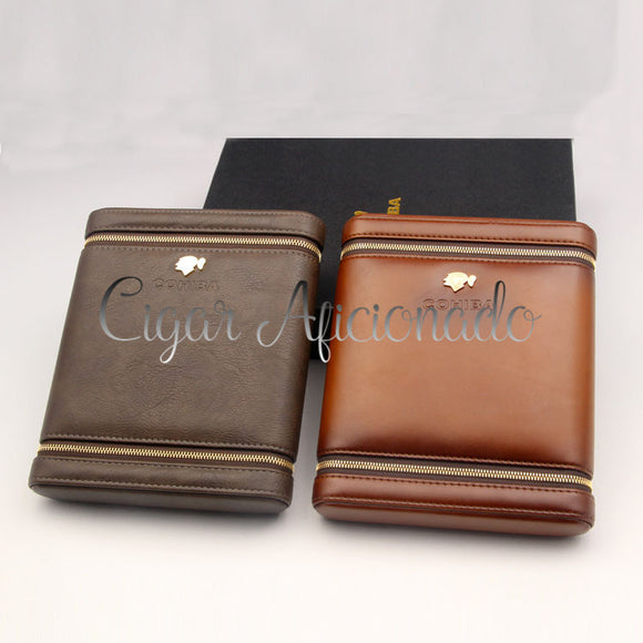 New Modern Design Hold 6 Cigars Cedar Wood Lined Leather Cigar Case with Gift Box Package