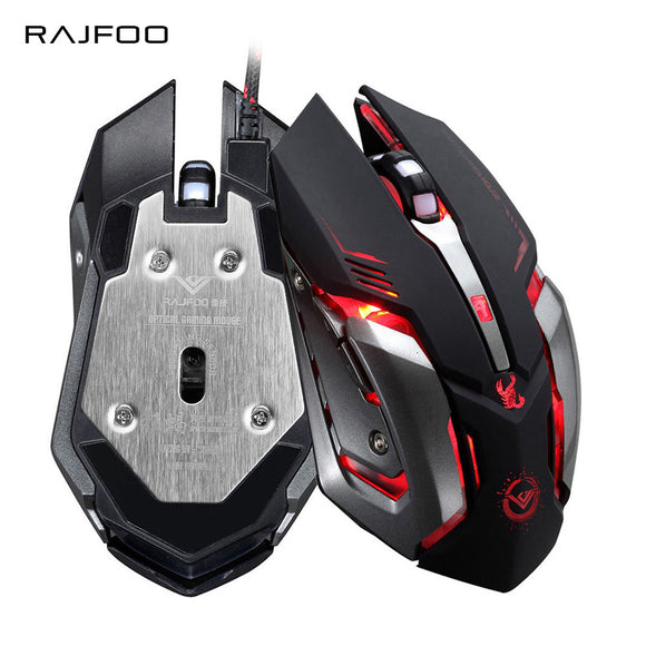 RAJFOO Gaming Mouse Ajustable 3200DPI 6 Buttons Optical Macro Programming USB Game Mouse Gamer 3 Color Breathing Variable Lights