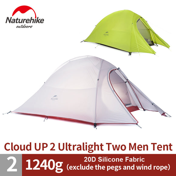 1.2KG NatureHike 2 Person Tent  20D Silicone/210T Plaid Fabric Tent Double-layer Camping Tent NH15T002-T