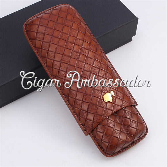 Cohiba Free Shipping High-end Real Leather 2 Finger Portable Travelling Cigar Case Holder with Gift Box Packing