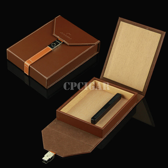 COHIBA Brown Leather Travel Cigar Humidor for 5 Cigars cedar wood Travel Cigar Box Case W/ Humidifier