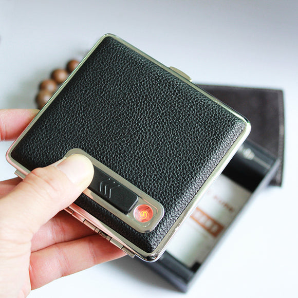 16 cigarettes box USB Cigarette case with cigar lighter    packing : gift box