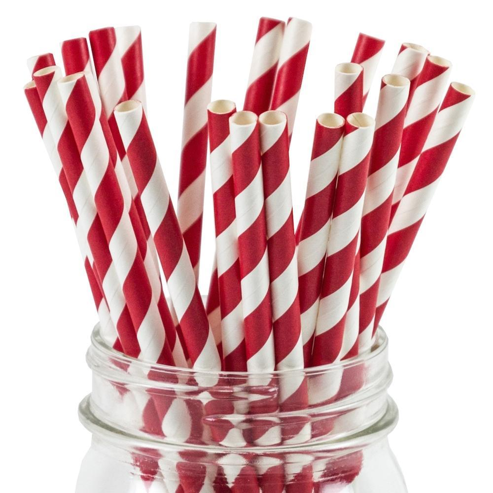UNIQ® Red Striped Paper Straws