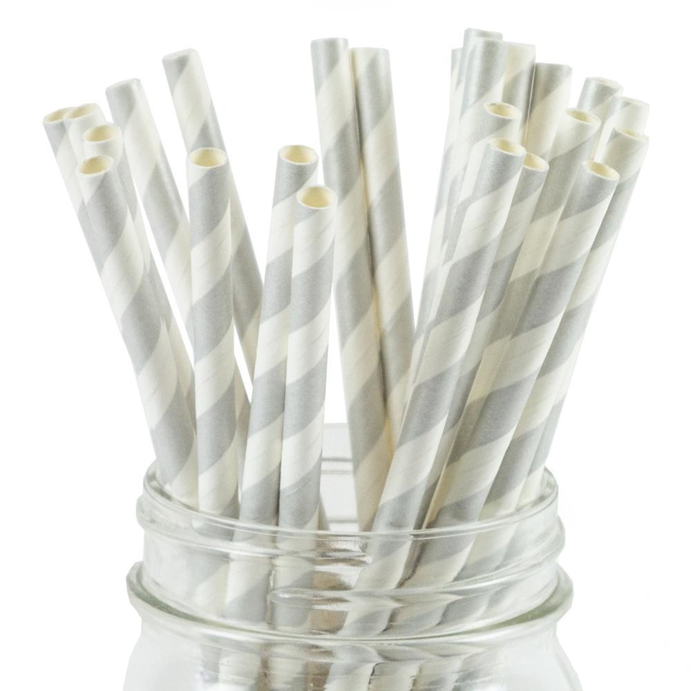 UNIQ® Silver Striped Paper Straws